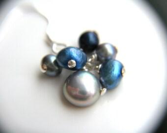 Cluster Pearl Earrings . Grey Pearl Earrings . Science Jewelry . Blue Pearl Earrings . Freshwater Pearl Cluster Earrings - Cosmos Collection
