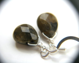 Faceted Labradorite Earrings Sterling . Small Drop Earrings . Simple Earrings . Crystals for Stress Relief Jewelry - Sagittarius Collection