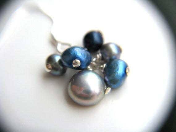 Gray Pearl Earrings . Science Jewelry . Blue Pearl Earrings . Freshwater Pearl Cluster Earrings - Melody Halcyon Collection