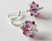 Sterling Silver Lampwork Glass Earrings Purple Pink Atomic