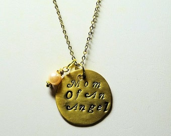 Mom of an Angel Necklace, 18 inch Golden Chain, Hand Stamped Pendant with Pearl Charm
