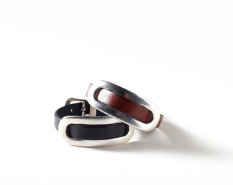 Black Leather Bracelet with a Silver Slider and an Ajustable Buckle Clasp