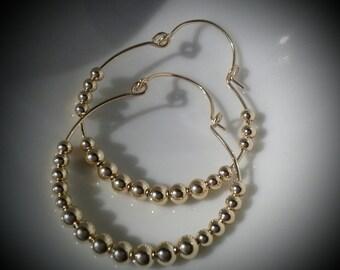Yellow Gold Hoop Earrings, Hinged Hoop, Gold Filled Earrings, Beaded Hoops