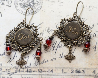 Oui Non Earrings, French Earrings, Victorian Earrings, Renaissance Earrings, Yes No French Charm Antiqued Brass Jewelry, Red Earrings, SRAJD
