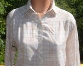 vintage 70's blouse PLAID shirt women's preppy ivory button down pintuck yoke western Medium Large