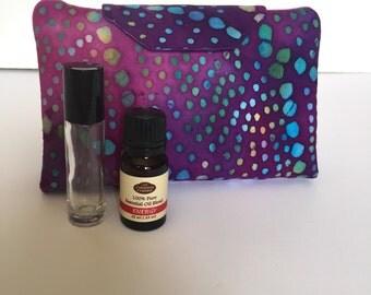 Purple batik fabric Essential oil case holds 8 vials or rollerballs