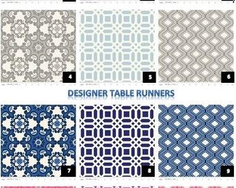Designer Fabric Kitchen Dining Table Runner-Black-Gray-Navy-Pink-Geometric-Diamonds-Damask-Lattice