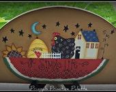 Primitive Watermelon Saltbox Chicken Sunflower Wood Door Crown Kitchen Home Decor Art