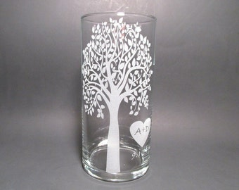 Personalized Unity Candle - Etched Glass Vase - Floating Candle - Sand Candle