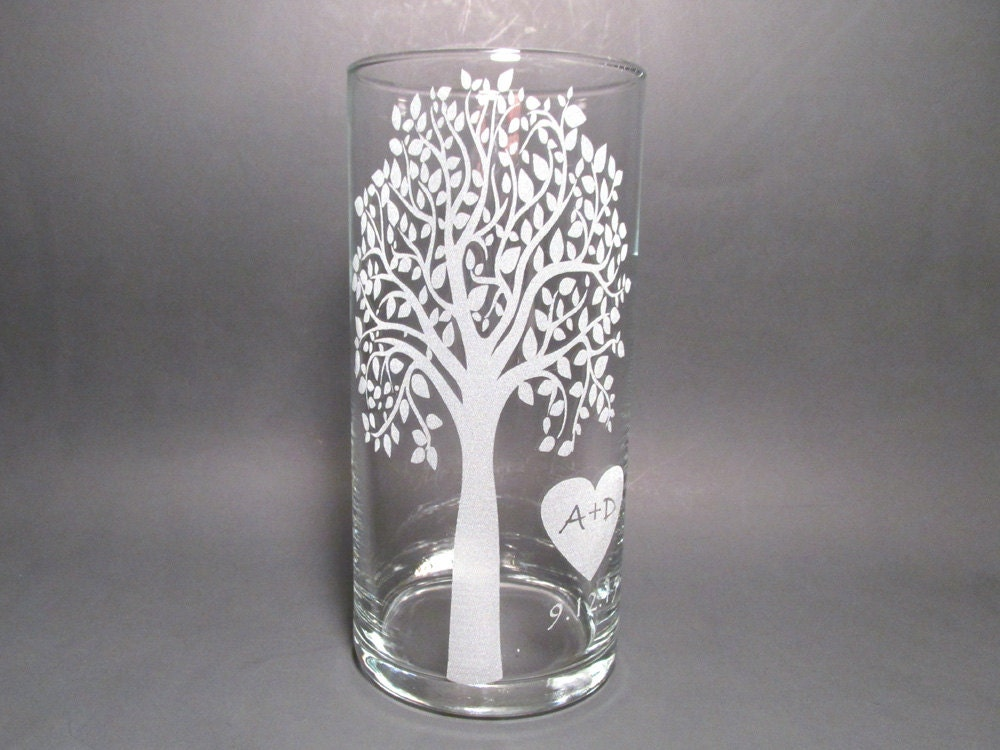 Personalized Unity Candle Etched Glass Vase Floating