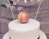 Peach cake topper for your Rustic Country Wedding Anniversary Baby Shower or Birthday