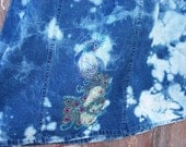 Bleach Tie Dyed Denim Skirt with Rhinestone Peacock Size 12 Upcycled DIY