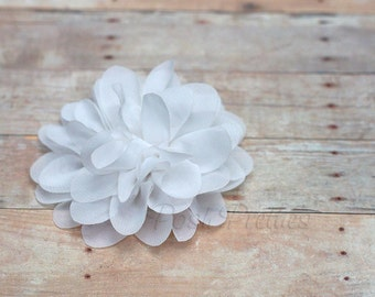 White Flower Hair Clip - Petal Flower- Flower Hair Clip - Alligator Clip - With or Without Rhinestone Center