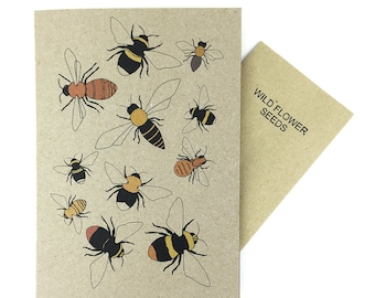 Bee card with wild flower seed inside - wildlife friendly - bumblebee recycled card - eco friendly