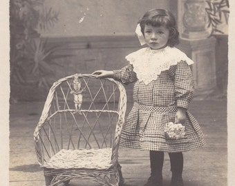 Vintage Antique 1900/1930 old French real photography postcard black & white  girl wearring gingham dress