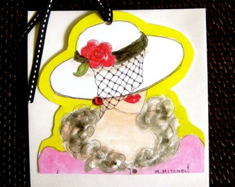 GLAMOROUS GIFT TAG, greeting card, canary yellow, rhinestones, gift tag, fun quote, hanging tag, gift for her, pink, veiled hat, fur