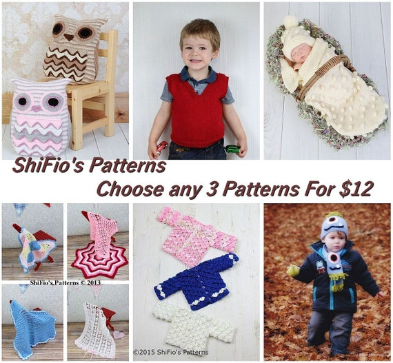 Discount Pattern Package- 3 for 12 dollars, many  available.. baby patterns, hats, ladies accessories, PATTERN in PDF