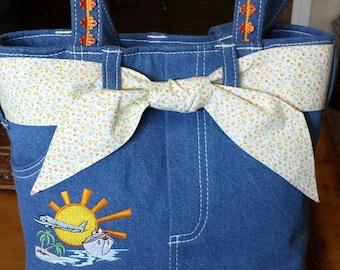 Handmade Simply Sassy Luv 2 Travel denim handbag