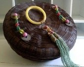 Chinese Sewing Basket, Peking Glass Ring, Brass Coins, Silk Tassel, Glass Beads, Asian Basket