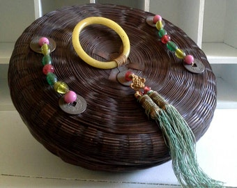 Chinese Sewing Basket, Peking Glass Ring, Brass Coins, Silk Tassel, Glass Beads, Asian Basket