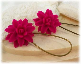 Pink Dahlia Dangle Earrings - Pink Dahlia Drop Earrings, Pink Flower Earrings