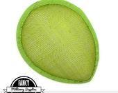 1 - Spring Green - Teardrop Hat Base - Hat Form - Hat Foundation -  Sinamay Straw - Fascinator - Millinery