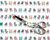 Retro Fabric / Chair Fabric Print / Mid Century Modern Chair / Retro Kitchen Curtains / Bertoia Chair / Fat Quarters / Multi Colored