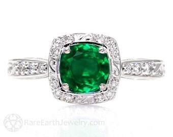 Art Deco Emerald Engagement Ring Diamond Halo 14K Emerald Ring Vintage Custom Bridal Jewelry