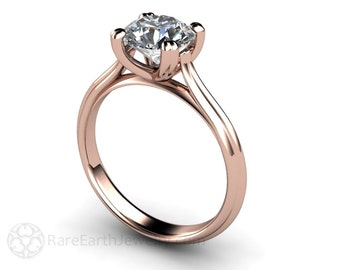 Solitaire Engagement Ring Forever Brilliant Moissanite Engagement Ring 14K 18K White Yellow or Rose Gold Conflict Free Diamond Alternative