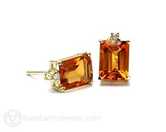 Citrine Earrings Citrine Studs Emerald Cut November Birthstone 14K Gold Post Earrings Yellow Gemstone