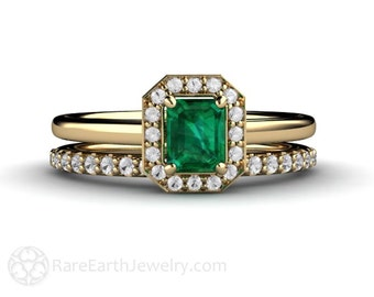 Emerald Engagement Ring Wedding Set Emerald Diamond Halo Plain Band 14K or Palladium May Birthstone