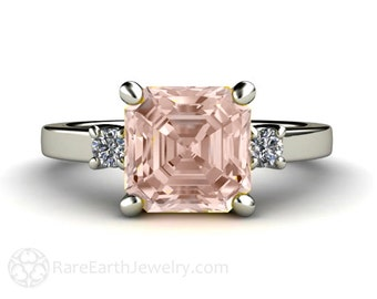 Asscher Morganite Engagement Ring 3 Stone Morganite Ring Diamond in 14K or Palladium Custom Bridal Jewelry