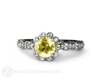 Lemon Yellow Sapphire Engagement Ring with Diamond Halo 14K Gold Sapphire Ring Bridal Jewelry