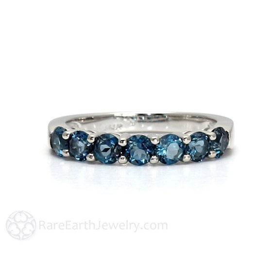 London Blue Topaz Ring Anniversary Band Blue Gemstone Ring December Birthstone in 14K or 18K Gold
