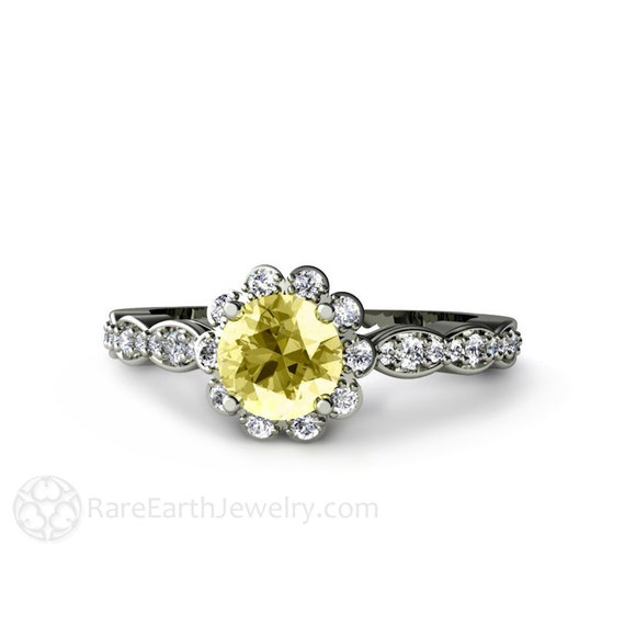 lemon yellow sapphire engagement ring with halo 14k