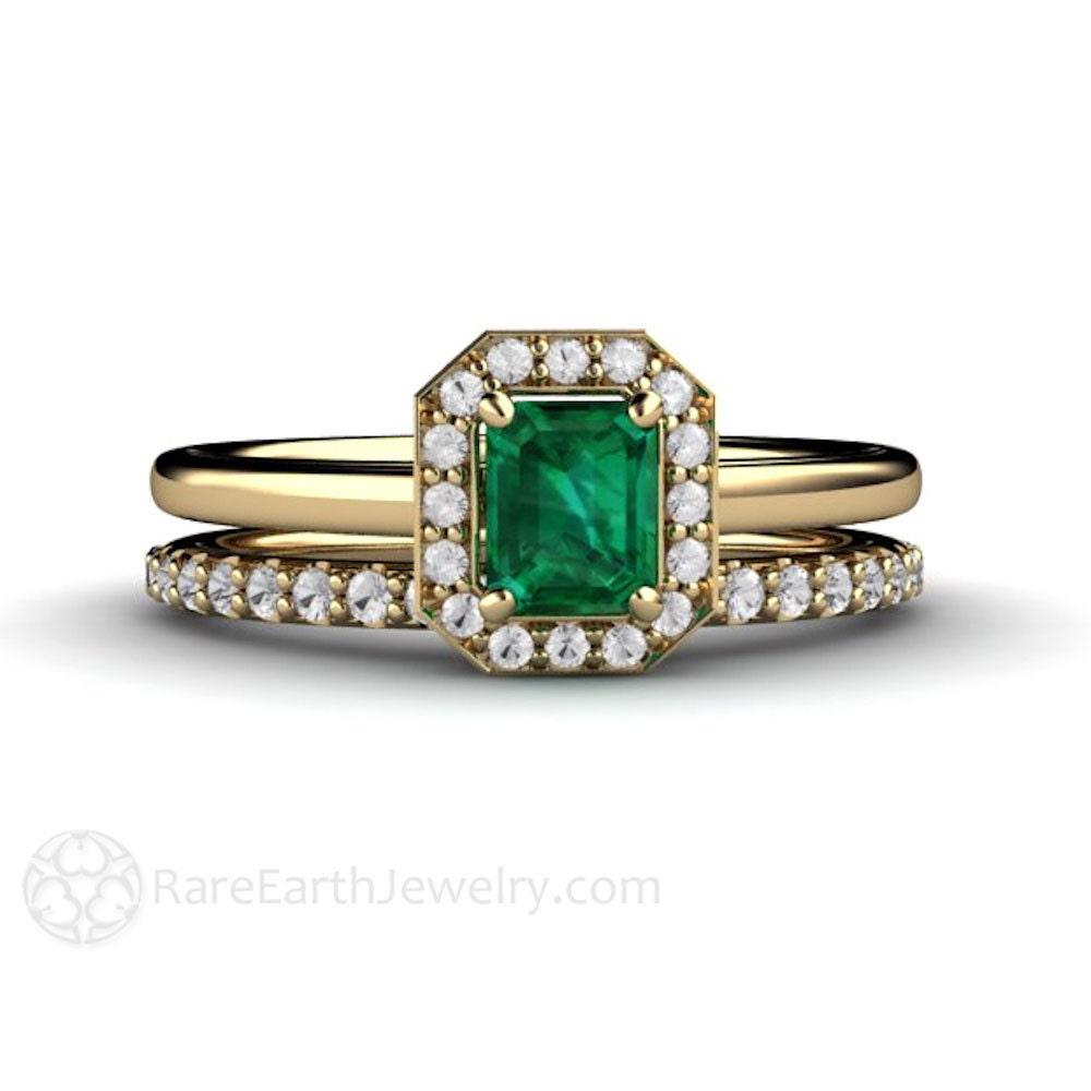 Emerald Engagement Ring Wedding Set Emerald Diamond Halo Plain