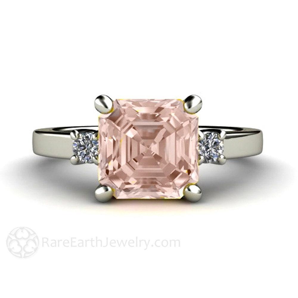 Asscher Morganite Engagement Ring 3 Stone Morganite Ring
