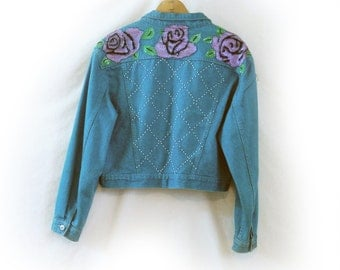 Vintage Levi Jacket, Bonjour, 80s 90s with Painted Flower Applique & Beads, Short Jacket, Denim Jacket, Slouch Shoulder, Beadazzled, Floral