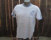 Vintage Cotton Rayon T Shirt 70s Gray Ringer T shirt Blue ringer tshirt BGSU