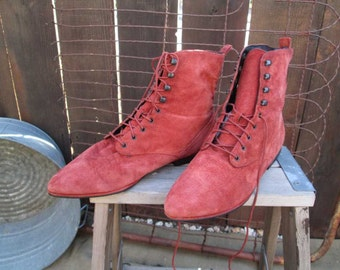 Vintage Rust suede 80s Boots Lace Up boots orange suede leather lace up Ankle boots Boots Sam & Libby 7.5