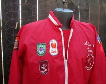 Camping Patches 60s Vintage Jacket Red nylon big zipper windbreaker vintage patch jacket  L