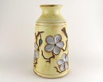 Cherry Blossom Vase - Soft Yellow / Handmade Wheel Thrown Pottery