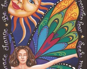 Metamorphosis - 8 x 10 Print of Original Acrylic Goddess Painting by Carolee Clark