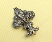 Fleur de lis hair clip French barrette antique style brass bronze silver Victorian hair accessory antique style New Orleans Marie Antoinette