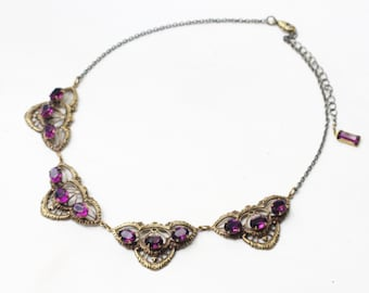 Victorian necklace amethyst crystal brass filigree collar Edwardian rhinestone gem antique style vintage bridal wedding jewelry