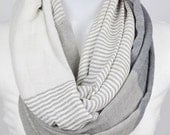 Color Block Infinity Scarf -White and Gray