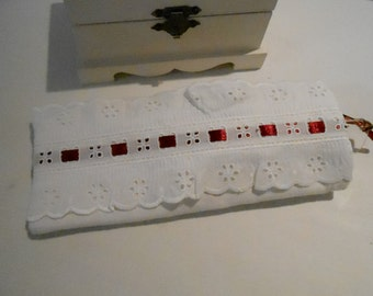 Eyeglass Case -  White Linen with Broderie Anglais - Red Ribbon Handmade