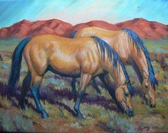 50% OFF SALE!  Two Buckskins, horses, equine, western, original, oil paintings, WHOA Horse Artists, Kerry