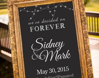 PRINTABLE - we decided on forever, Gold Wedding Decor, Black & Gold Party Decor, Gatsby Wedding, chalkboard Wedding Sign, Art Deco Wedding,