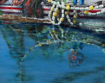 original art 16x20 drawing Reflections of a catch   alaska fishing boat net